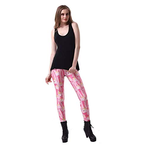 YJKGPZQLZ Leggings Polainas 3D Chicas Lindas Leggings de Mujer Legging de Cintura Alta Pantalones de Mujer con Estampado de Invierno Leggings Ajustados de Fitness Ropa de Gimnasio