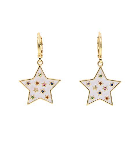 Yhhzw Joyas De Oro Lleno De Esmalte Blanco Arco Iris Chispeante Estrella Aro Pendiente Para Las Mujeres Linda Chica Brillante Boda