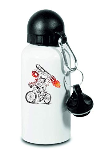 Druckerlebnis24 Trinkflasche - Astronaut Fahrrad Rakete Feuer - Für Kinder, Schule, Sport, Fitness - Schlanke Wasserflasche aus Aluminium