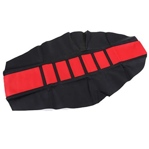 Almencla Motorrad Sitzbankbezug wasserfest Leder Sitzbezug 3D Bikes Sitzbank Bezug Universal - rot schwarz