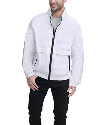 DKNY Men's Water Resistant Taslan Windbreaker Jacket, White, Large