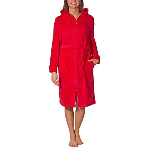 Aquarti Damen Bademantel mit Reißverschluss Lang, Farbe: Himbeerrot, Größe: XL