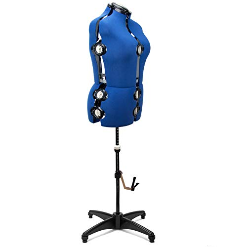 """Blue 13 Dials Female Fabric Adjustable Mannequin Dress Form for Sewing, Mannequin Body Torso with Tri-Pod Stand, Up to 70"""" Shoulder Height. (Large)"""