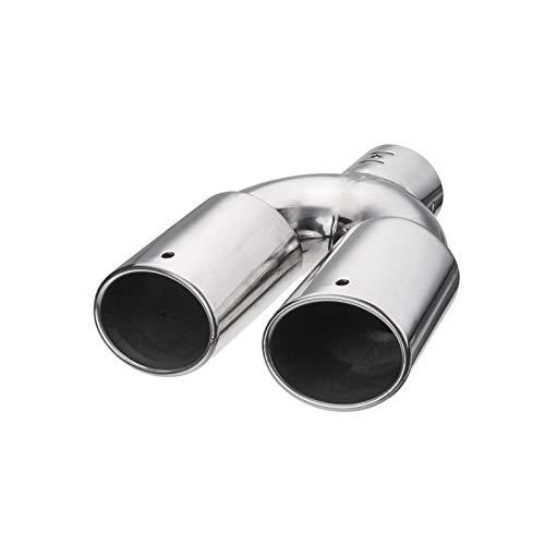 Nbxypeaus Cromado de 60 mm Doble Salida de Escape de Acero Inoxidable Pipa del silenciador del Coche Extremo de la extremidad de la Cola del Ajuste Modificado Garganta del trazador de líneas de Plata