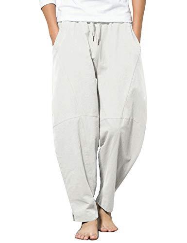 COOFANDY Men's Cotton Linen Yoga Pants Drawstring Elastic Waist Baggy Harem Pant