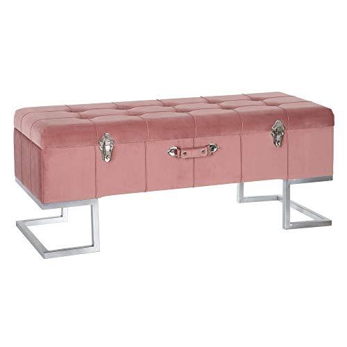 Banqueta baúl de Terciopelo y Metal Rosa de 105x40x42 cm - LOLAhome
