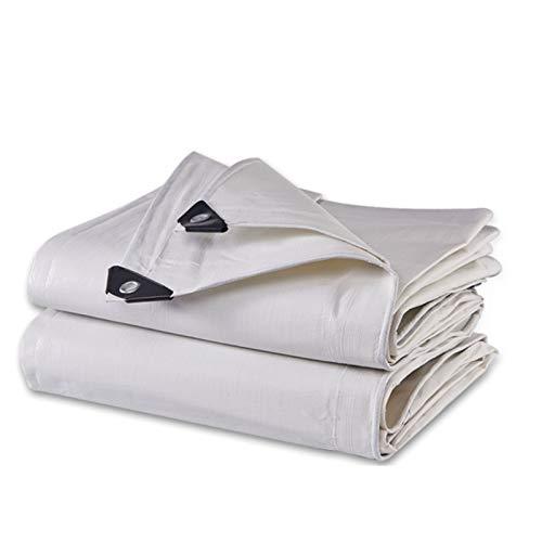 GHHZZQ Lona Alquitranada Cubierta de Lona Ojales Reforzados PE (2 X 4 m, 175 g / ㎡) Lona Impermeable Hoja de Lona Blanca for Al Aire Libre Cámping (Color : White, Size : 7x5m)
