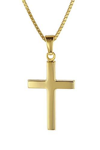 trendor Kreuz Gold 333 mit goldplattierter Venezianer Kette Damen Halskette, Gold Anhänger, Kreuz Anhänger aus Echtgold, elegantes Geschenk 08500-45 45 cm