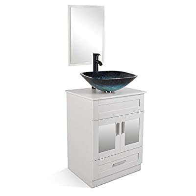 24 Inch White Bathroom Vanity and Sink Combo with Mirror and Water Saving 1.5 GPM ORB Faucet Counter Top Floor Cabinet