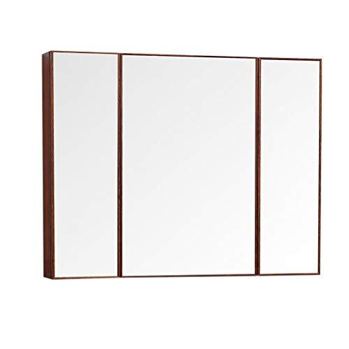 Armarios con espejo Espejo de baño Armario de Pared para Medicina Armario de aleación de Aluminio Espejo de Pared Armario Colgante de Cocina (Color : Brown, Size : 90 * 13 * 70cm)