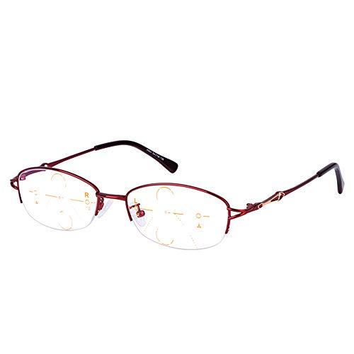 CAOXN Gafas De Lectura Progresivas De Enfoque Múltiple, Ajuste De Zoom Inteligente Masculino, Grado De Presbicia, Hipermetropía, Lupa, Gafas Ópticas,Rojo,+2.00