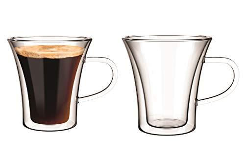 Aqualogis - Vaso térmico de doble pared para café expreso, capuchino, latte, té 150 ml (2 vasos)