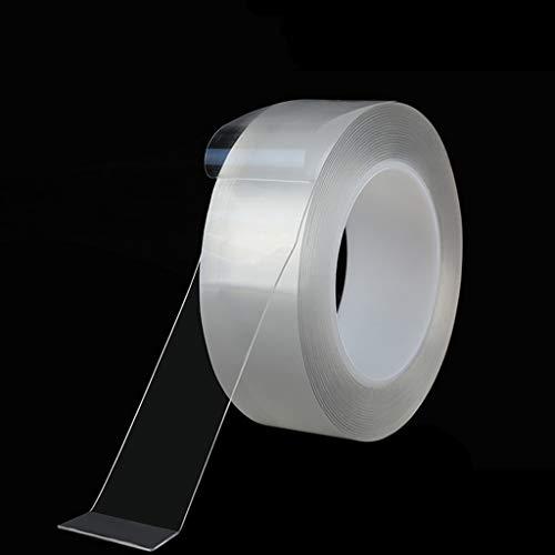 Plakband, wasbaar, NanoTape 5 m, herbruikbaar, van siliconen, voor het verwijderen van herbruikbare schouderriemen, keukenkast, van metaal, tegels, nano-plakband
