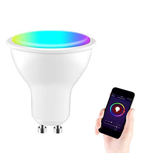 Bombilla inteligente GU10 LED regulable ajustable blanco RGB que cambia de color, compatible con Tuya/Smart Life APP/control de voz funciona con Alexa Google Home