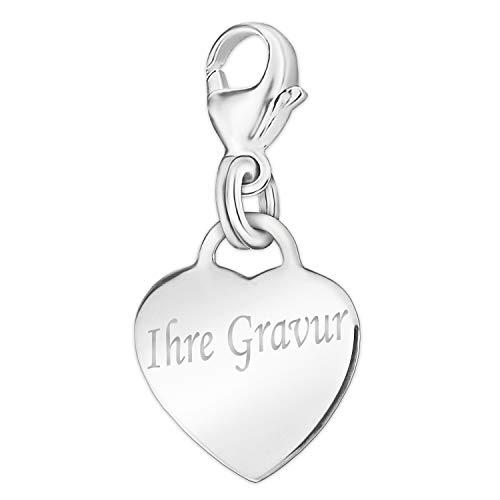 Clever sieraden met gravure: Zilveren damesbedelhanger klein hart 13 mm glanzend met beugellus aan karabijnhaak sterling zilver 925 inclusief eenzijdige gravure