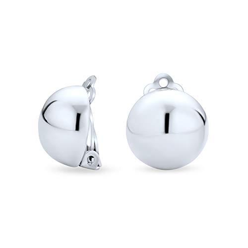 Simple básico media ronda bola pulido clip en pendientes para las mujeres estilo botón aleación Clip 925 plata de ley .50 dia