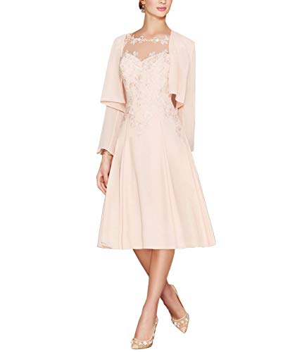 LANSITINA Plus Size Mother of The Bride Dresses Tea Length Mother of The Groom Dresses for Wedding with Jackets(Pearl Pink,18) (Apparel)