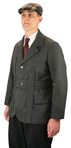 Historical Emporium Men's Norfolk Wool Blend Herringbone Tweed Jacket S Gray