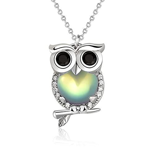 XINHE S925 Collar De Búho De Plata Esterlina para Mujer Aurora Moonstone Colgantes Joyería Regalos