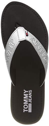 Hilfiger Denim Damen Shiny METALLIC Beach Sandal Zehentrenner, Silber (Silver 000), 39 EU