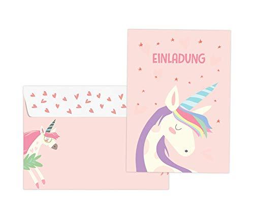 Friendly Fox Einhorn Einladung - 12 niedliche Einhorn Einladungskarten zum Kindergeburtstag Mädchen - Unicorn