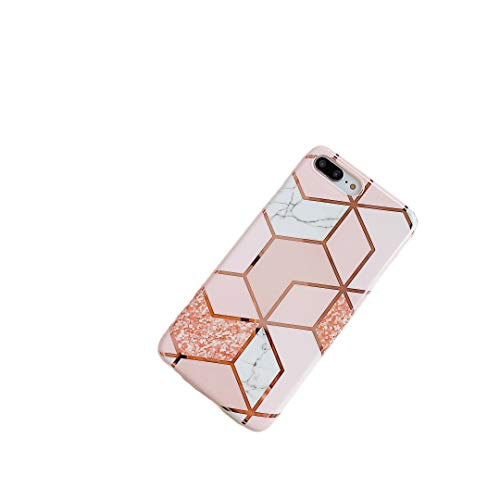 Cocomii Geometric Marble Armor iPhone 8 Plus/7 Plus Funda Nuevo [Oro Rosa Líneas Brillantes De Granito] HD Patrón Vivo Nunca Se Desvanecen Case for Apple iPhone 8 Plus/7 Plus (GM.Pink/Glitter)