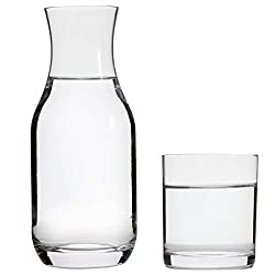 Lily's Home Bedside Night Water Carafe with Tumbler Glass, Use in Bedroom Bathroom, or Kitchen, Use Cup as Lid, Lead Free Glass (16 Ounces)