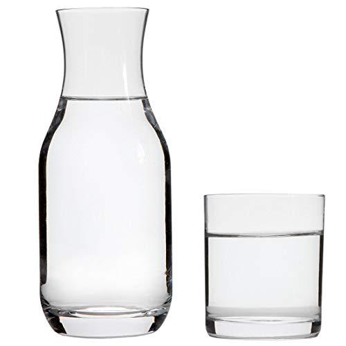 Lily\'s Home Wasserkaraffe mit Trinkglas, für Schlafzimmer, Bad oder Küche, als Deckel, bleifreies Glas (473 ml)