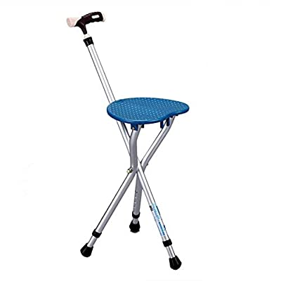 Walking Cane with Seat Attached Heavy Duty 350 lbs Capacity Ajustable Best Health Portable Chair Folding,Blue by BSROZKI