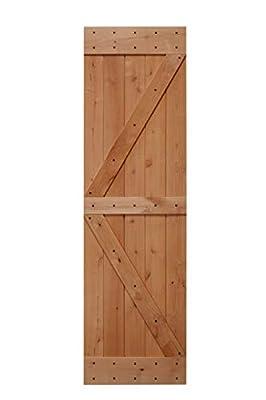 LUBANN Rustic Hardwood Barn Door Unfinished Knotty Alder Solid Wood Barn Door Slab