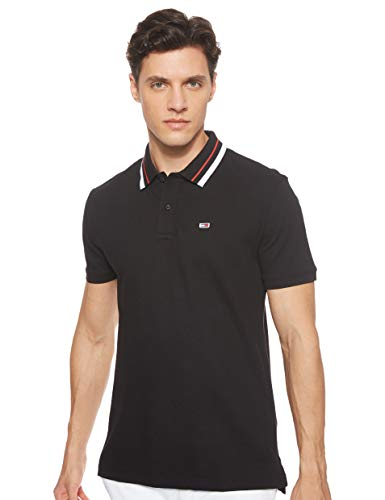 Tommy Jeans Herren TJM Classics Tipped Stretch Polo Poloshirt, Schwarz (Tommy Black BBU), Medium