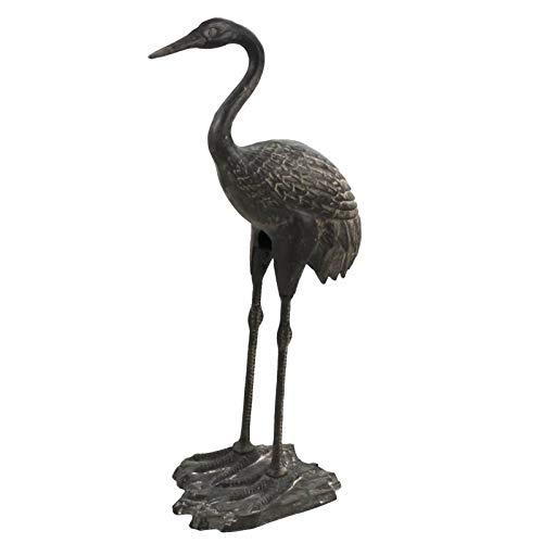 L'Héritier Du Temps Statue Sculpture Représentation Héron Oiseau Tête Haute en Fonte Patinée Grise 22x36x77cm