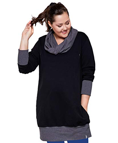 Be Mama - Maternity & Baby wear Pull 2 en 1 pour Femme en Coton de qualité supérieure - Noir - 52/54
