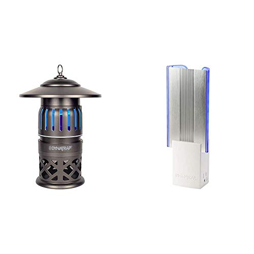 DynaTrap DT1050-TUN Insect and Mosquito Trap Twist On/Off, 1/2 Acre, Tungsten & DT3019W Flylight Indoor Insect and Mosquito Trap 2 AC Outlets, AtraktaGlo Light, StickyTech, 600 Square Feet, White