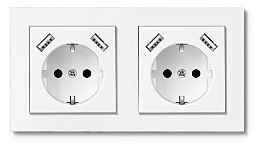 RAVPHICS Enchufe doble con USB (máx. 3,4 A), enchufe de pared USB Schuko, se adapta a la caja estándar de 2 compartimentos, color blanco brillante, fácil instalación.