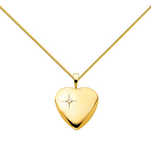 14K Yellow Gold Valentines Diamond-Accent Heart Locket Pendant with 0.8mm Yellow Snake Chain Necklace Fashion Jewelry (Length - 18 in)
