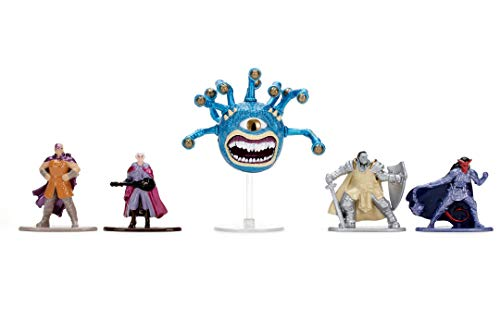 Jada Toys 253253000 Dungeons & Dragons Nanofigs 5er Nano Sammelfiguren aus Die-Cast, Minsc Human Ranger, Elf Bard, Orc, Tiefling Paladin, Beholder, Spielzeugfiguren, 5 Stück/Set, 4 cm, ab 12 Jahren