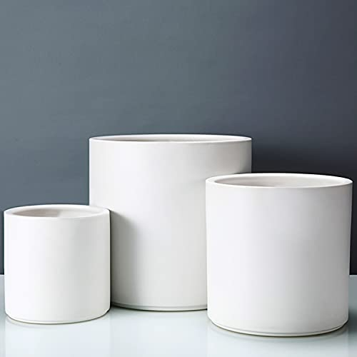 Fopamtri Plant Pot Set Matte White Ceramic Planter for Indoor Outdoor Plants Flowers Small 6' Medium 8' Large 10 Inch Modern Cylinder Flower Pot with Drainage Hole and Plug,Full Glazed Finish