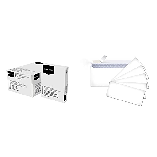 Amazon Basics Multipurpose Copy Printer Paper - White, 8.5 x 11 Inches, 8 Ream Case (4,000 Sheets) & #10 Security-Tinted Envelopes with Peel & Seal, White, 500-Pack