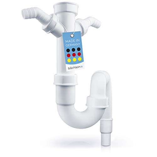 Bächlein flexibler Röhrensiphon für Küchenspüle - Geruchsverschluss mit doppeltem Geräteanschluss - Siphon für die Küchenspüle