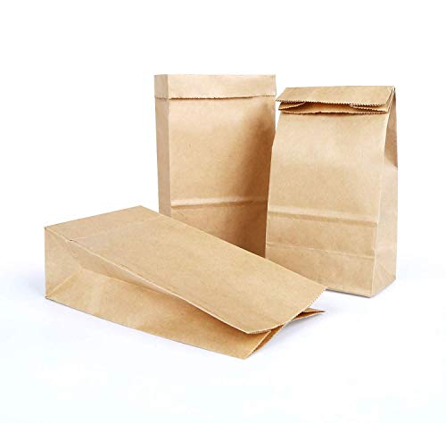 Vegena 100 Stück Papiertüten, 24 x 13 x 8 cm Praktische Bodenbeutel, Kraftpapiertüten Papiertüten Braun Recycelt, Obstbeutel, Mitgebseltüten, Geschenkverpackung,Kraftpapiertüte