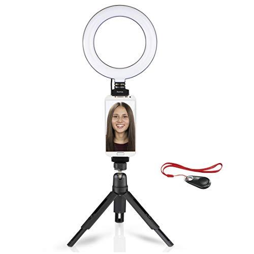 Hama LED Ringlicht Stativ mit Halterung für Handy u. Tablet (17 cm Lichtring, Ringleuchte mit Bluetooth Fernbedienung, 3 Farbtemperaturen, 10 Helligkeitsstufen für Selfies, Instagram, YouTube, TikTok)