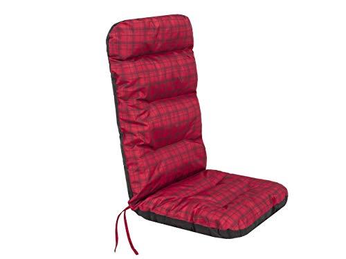 Cojín de asiento para muebles de jardín con respaldo alto – Cojín para sillón, tumbona de jardín – Dimensiones del asiento – 49 x 47 cm de alto 72 cm – Cojín de jardín acolchado – rojo a cuadros