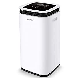 Waykar 70 Pint Dehumidifiers for Home and Basements in Spaces up to 4500 Sq Ft., with Continuous Drain Hose for Auto Drain and Water Tank for Manual Drain 9 70 PINTS DEHUMIDIFIER FOR SPACES UP TO 4500 SQ FT- Our 70 pints capacity dehumidifiers are able to removes 9 Gallons (70 pints) of moisture a day in areas up to 4,500 sq. ft. and adjust humidity from 30% to 85%. Maintaining a healthy 45%-55% humidity range has never been easier! It is a dehumidifier ideal for any basements, office, home, bathroom, bedroom, kitchen, stockroom, living room, laundry room, cellars, crawlspace, large spaces/room, etc.. UNIQUE DESIGN FOR THE MODERN HOME- The Waykar dehumidifiers designed with the sleek and modern look. With built-in wheels and ergonomically placed handles, you can move this dehumidifier easily. A quiet fan that won't disturb you when you sleep or at work, adjustable fan speeds for multiple choices. There are 4 air outlets in the four sides of dehumidifier instead of that in one side, with this design will improve the speed of dehumidify. INTELLIGENT TOUCH CONTROL- There is an intelligent screen touch control panel display on the dehumidifier, you can operate it easily. Humidity Auto Control: Simply adjust to your ideal moisture setting, it will smartly sense room humidity and control dehumidification to maintain pre-set humidity levels. 24-hour Timer: For preset operation and reduced energy consumption. Automatic Shut Off/On: Shuts off automatically when the bucket is full, and switch it on again after the bucket been emptied.
