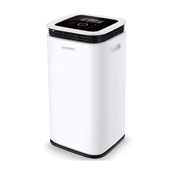 Waykar 4500 sq. Ft dehumidifier for home basements bedroom garage, removes 9 gallons moisture/day, with continuous drain… 1 dehumidifier for spaces up to 4500 sq ft- our dehumidifier are able to remove up to 70 pints (under 95°f,85%rh condition) of moisture per day. (please note: under 95°f,85%rh condition, the max dehumidification capacity up to 70 pints)in areas up to 4,500 sq. Ft and adjust humidity from 30% to 85%. It is a dehumidifier ideal for any basements, office, home, bathroom, bedroom, kitchen, stockroom, living room, laundry room, cellars, crawlspace, large spaces/room, etc.. Unique design for the modern home- the waykar dehumidifiers designed with the sleek and modern look. With built-in wheels and ergonomically placed handles, you can move this dehumidifier easily. A quiet fan that won't disturb you when you sleep or at work, adjustable fan speeds for multiple choices. There are 4 air outlets in the four sides of dehumidifier instead of that in one side, with this design will improve the speed of dehumidify. Intelligent touch control- there is an intelligent screen touch control panel display on the dehumidifier, you can operate it easily. Humidity auto control: simply adjust to your ideal moisture setting, it will smartly sense room humidity and control dehumidification to maintain pre-set humidity levels. 24-hour timer: for preset operation and reduced energy consumption. Automatic shut off/on: shuts off automatically when the bucket is full, and switch it on again after the bucket been emptied.