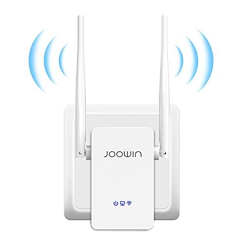 JOOWIN Répéteur WiFi, 300Mbps 2.4GHz Amplificateur WiFi , WiFi Extender, WiFi Booster/AP/Routeur Mode, 2 Antennes, 1 Port Ethernet, Compatibilité Forte, Facile à Installer