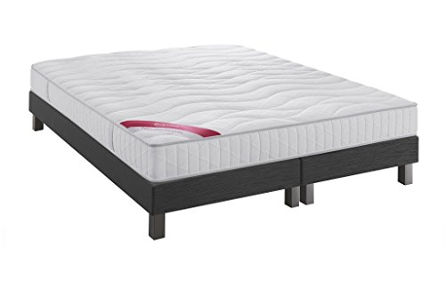 Relaxima Equateur ensemble Sommier + Matelas 100% latex Dunlopillo, Anthracite, 160x200