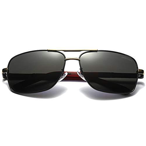 Hancoc Gafas de sol polarizadas de material de metal, marco dorado/plateado, lente negra, lentes de conducción para hombre (color: dorado)