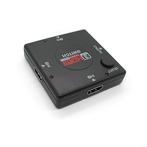 Conmutador HDMI; Caja de conmutador Hdmi de 3 Puertos. Concentrador de conmutación de 3 entradas, 1 Salidas, Manual o automático para hasta 3 Dispositivos. Video 1080P HD.