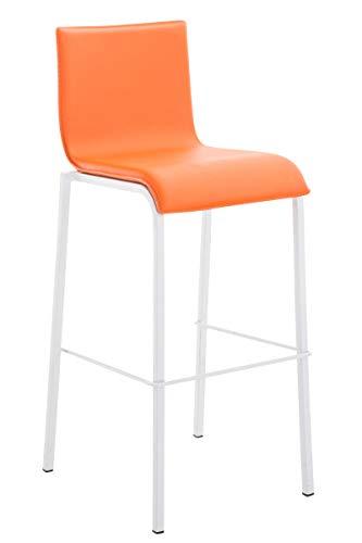 CLP Taburete Alto Avola Moderno En Cuero Sintético Liso & Con Base De Metal Blanco I Taburete De Cocina Apilable, Color:naranja